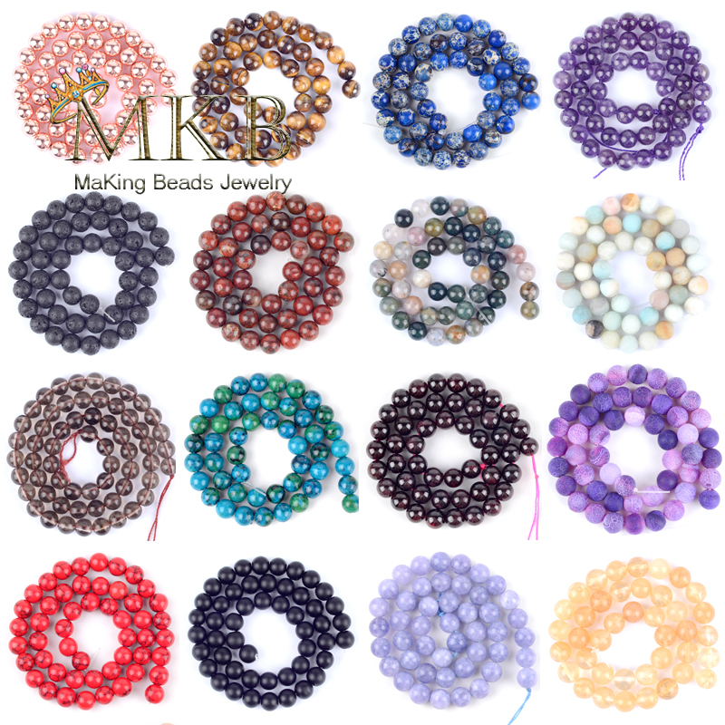 Free Shipping Natural Round Tiger Eye Amazonite Garnet Howlite Turquoises Quartz Stone Beads For Jewelry Making Pick 30color(China)