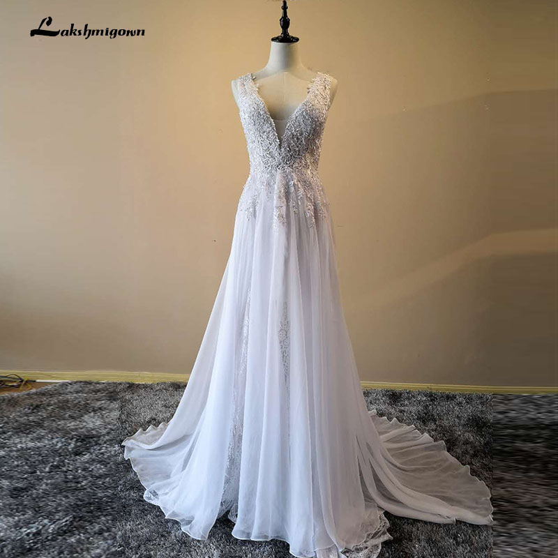 Wedding Gowns With Cap Sleeves: 2018 Modest Spring Chiffon Lace Wedding Dress Cap Sleeves