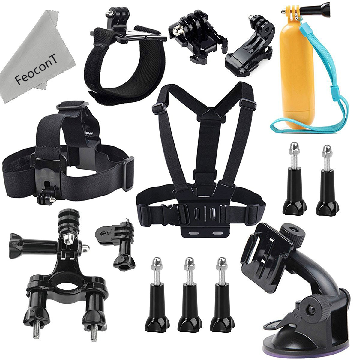 Accessories Kit For GoPro Hero 5 Session Hero Session Head Strap Chest Harness Yellow Hand Grip