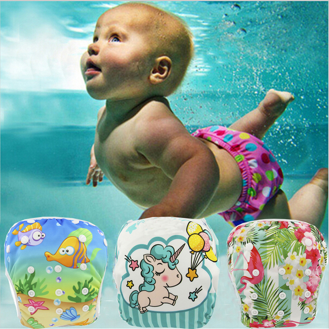 Ohbabyka Baby Swim Diaper Waterproof Adjustable Cloth Diapers Pool Pant Swimming Diaper Cover Reusable Washable Baby Nappies