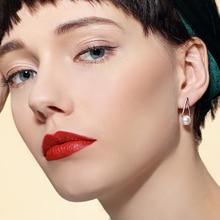 Купить с кэшбэком SUKI Earrings Jewellery Personality Geometric Triangle Pearl Romantic Stud Earrings for Female Decor Pendientes Orecchini Donna