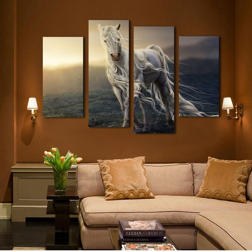 Modular Modern Artwork Poster Landscape 4 Panels Animal Horse Canvas Painting Wall Art Picture Decorative Living Room Or Bedroom