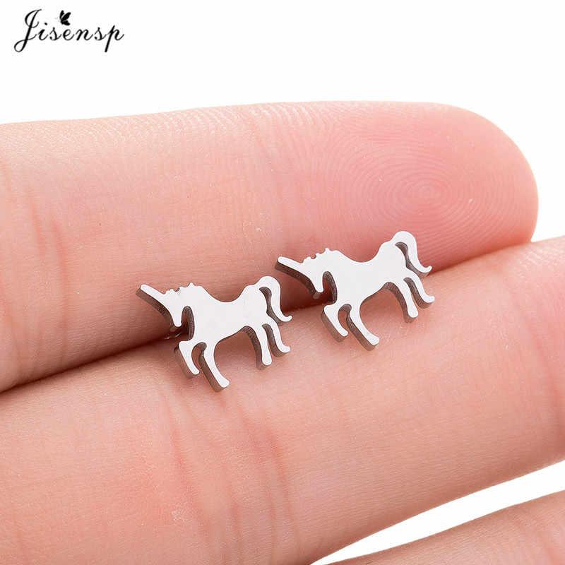 Jisensp уникальные ювелирные изделия серебряные серьги в виде единорогов для женщин украшения для ночного клуба аксессуары милые животные маленькие сережки oorbellen