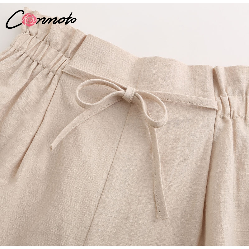 Image 5 - Conmoto Casual Beige Holiday Beach Lace up Thin Shorts Women 2019 Summer High Street Stylish Elastic Waist Girl Shorts Plus Size-in Shorts from Women's Clothing