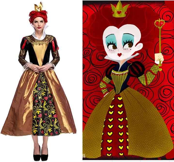 6d275e91dbc Iracebeth The Red Queen Cosplay Costumes Long Dress Gold Headwear Set  Halloween Wonderland Costumes Carnival Disguisement
