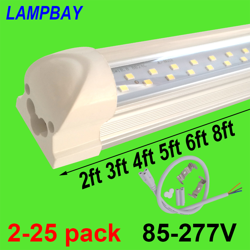 2-25pcs Double Row LED Tube Lights 2ft 3ft 4ft 5ft 6ft 8ft Super Bright Twin Bar Lamp T8 Integrated Bulb Fixture with fittings 4 pack free shipping t5 integrated led tube lights 5ft 150cm 24w lamp fixture with accessory milky clear cover 85 277v