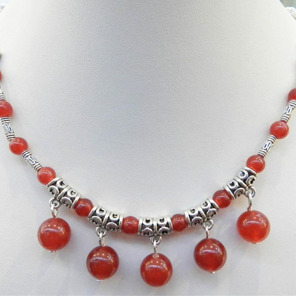 Constructive Fashion Tibet Silver-color Accessories Red Round Beads Jades Chalcedony Pendant Necklace For Women High Grade Gift 18inch Bv132 Chain Necklaces