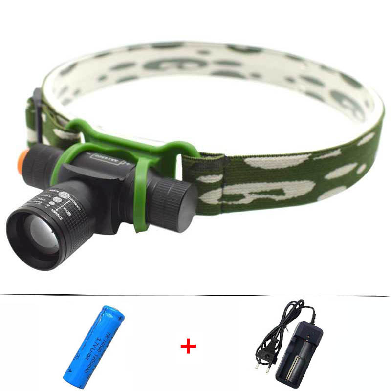 Tactical LED Headlamp Zoom Frontal Flashlight LED Torch Hunting Camping Headlight Head Light Lamp+14500 Battery+Charger