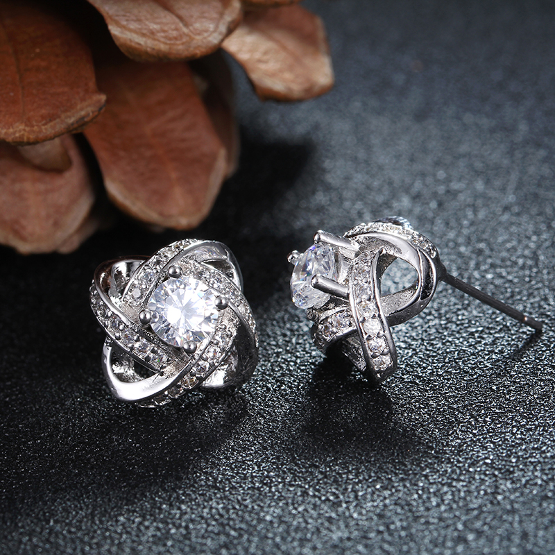 white gold color Stud Earrings for lady girls jewelry accessories ...