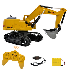 цена на 2.4G 1:24 8CH RC excavator Toys for boy RC tractor Engineering truck series Sandy beach Snowfield toys RC car excavator