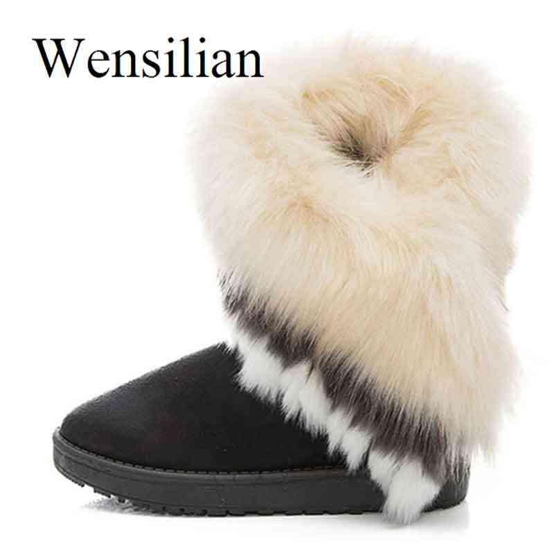 Fashion Wanita Sepatu Bot Salju Musim Dingin untuk Wanita Hangat Botte Femme Dasar Bulu Rubah Wedges Australia Boots Wanita Pasang Kaos Zapatos Mujer