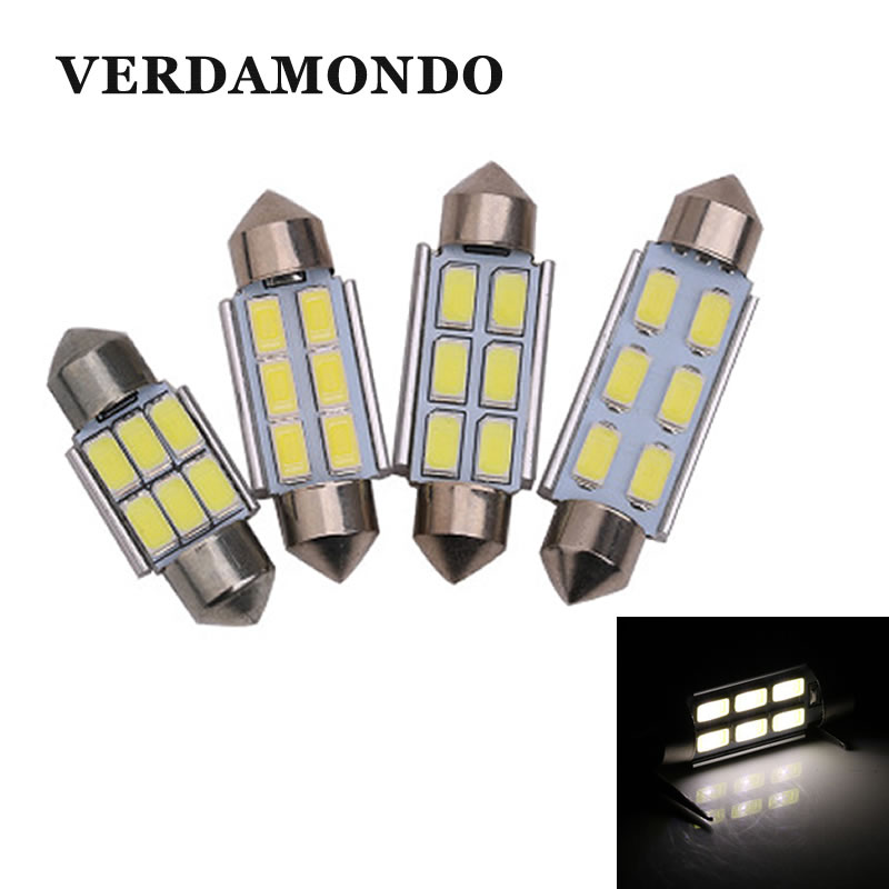 Car Festoon 31mm 36mm 39mm 41mm LED Light 6 5630 SMD Dome License Plate  Trunk Bulb Luggage Compartment  Lamp DC 12V White
