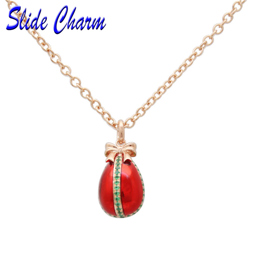 Slide charm Easter blue rhinestones red enamel egg pendants with Russia 43.5cm +2.5 rose gold necklace Valentine's Day gift
