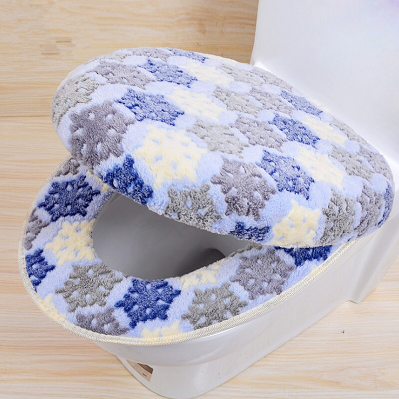 따뜻한 두 조각 o 모양 지퍼 화장실 커버 좌석 산호 양 털 여행 욕실 용품에 대 한 설정