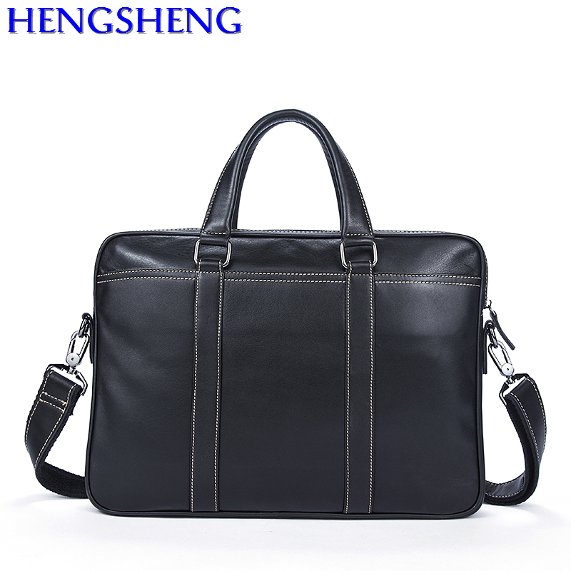 Free Shipping black newly genuine leather men briefcase for business male handle computer bag of cow leather men briefcase cow leather men s briefcase retro genuine leather business office computer bag handmade briefcase