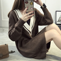 Women Casual Knitted Sweater Jumper V Neck Pullover 3Colors Winter Autumn Top Korean Style Girl Loose Pullover Sweater