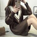 Mujeres Casual Suéter tejido Jumper Jersey de Cuello V 3 Colores Otoño Invierno Estilo Coreano Niña Suéter Flojo Superior