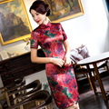 TIC-TEC women cheongsam short qipao chinese peony print traditional dress oriental dresses elegant modern evening clothes P2863