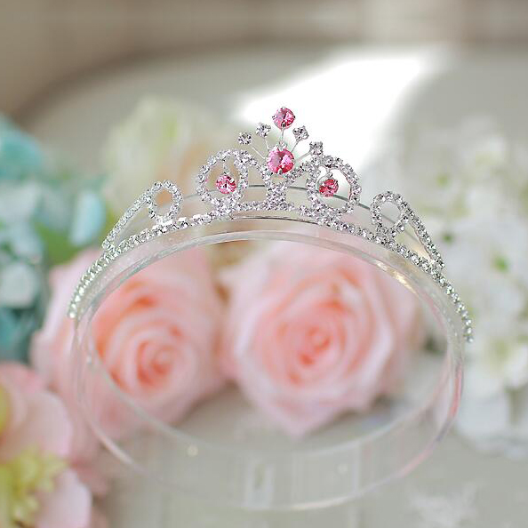 Pink Rhinestone Flower Crown Tiara For Girls Crystal Party Jewelry Hairbands Accessories