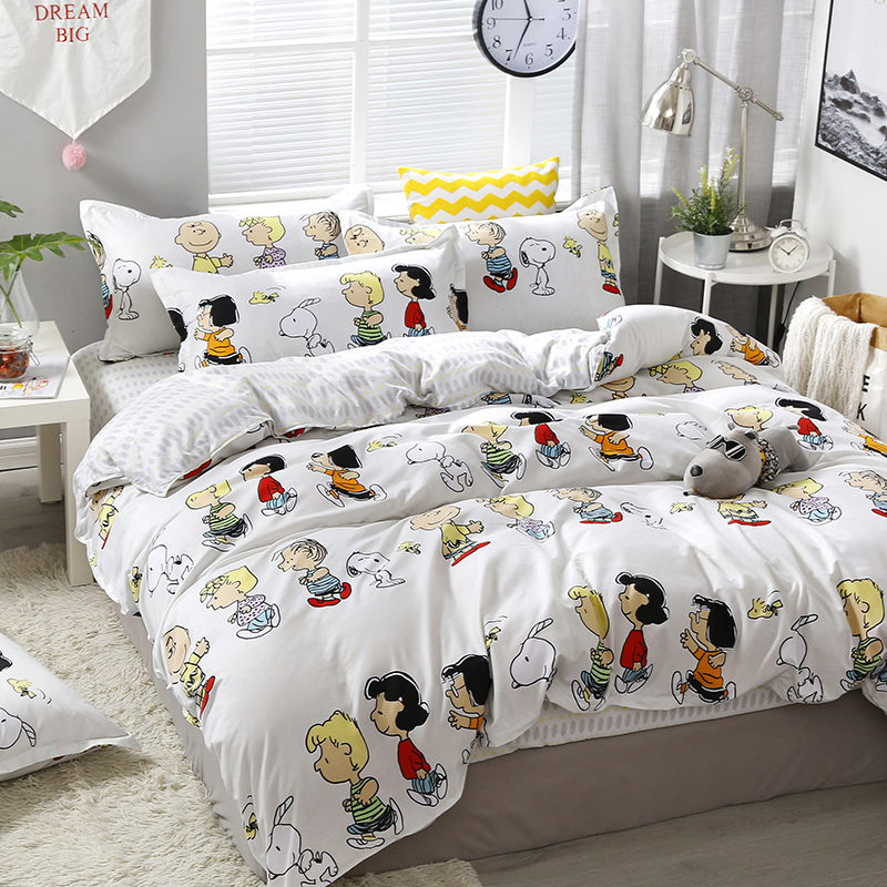 3/4pcs/set Happy Family Printing Textile Bedding Set Include Duvet Cover &Sheets&Pillowcases Cover Comfortable Home Bed Set