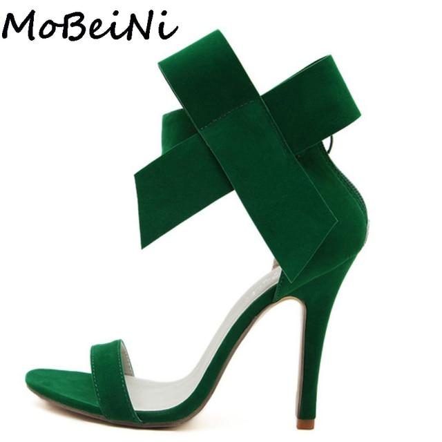 MoBeiNi Bowknot Bow Wedding Shoes Women High Heel Open Toe Pumps Stiletto  Women Big Bowtie Butterfly