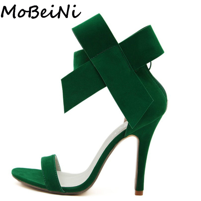 MoBeiNi Bowknot Bow Wedding Shoes Women High Heel Open Toe Pumps Stiletto  Women Big Bowtie Butterfly Knot Sandals Plus Size 1951a93bc023