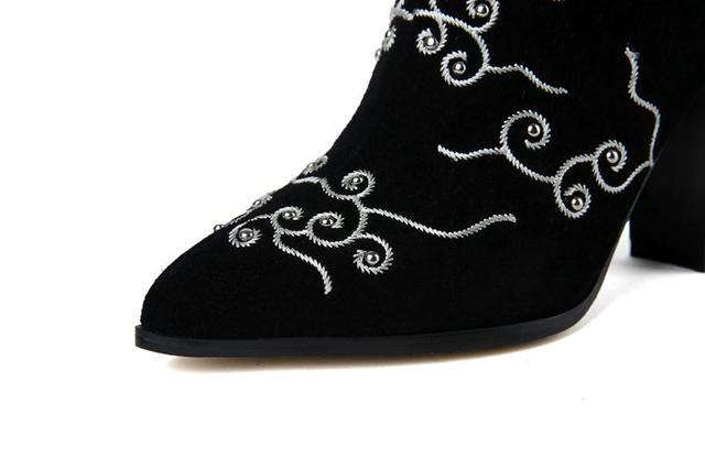 MEMUNIA Cow Split Flock Mid Calf Boots Pointed Toe Embroidery High Heels Boots