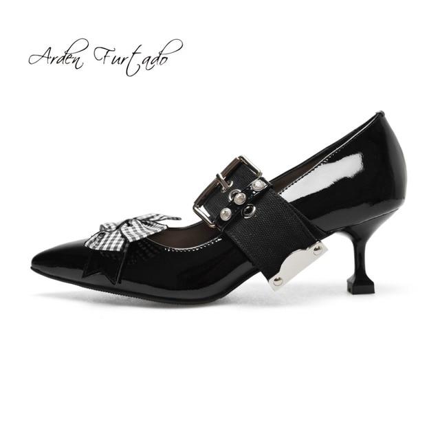 Arden Furtado 2018 new spring autumn buckle strap stilettos spike heels  butterfly knot genuine leather pumps 6f4bd336add3