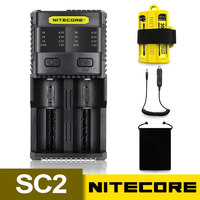 NITECORE SC2 Charger Intelligent Battery Charger 3A For LiFePO4 Lithium Ion Ni MH NiCd 18650 10340 10350 10440 10500 16340 AA