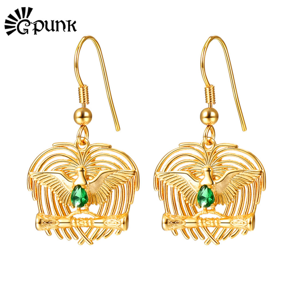 Bird Of Paradise Kundu Earrings Gold Color Png Jewelry Ethnic Drop