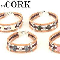 Natural cork Ceramic beads women original handmade bracelet women wooden jewelry BRW-026
