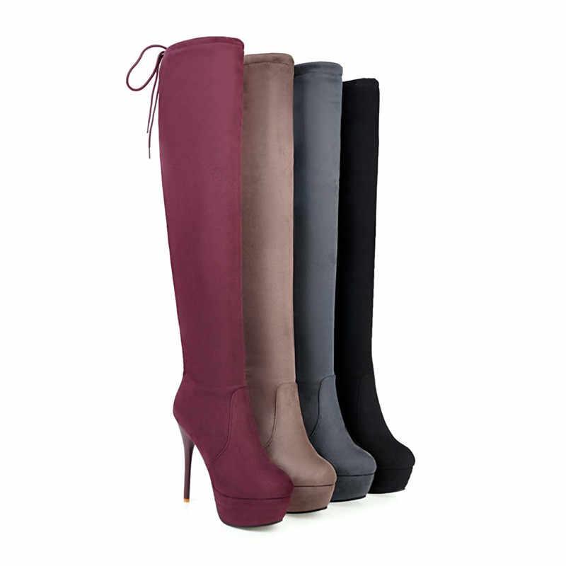 ASUMER 2020 nieuwe herfst winter stretch hoge laarzen vrouwen sexy ultra hoge hakken prom laarzen kruis gebonden dames over de knie laarzen