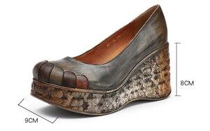 Image 5 - GKTINOO yeni kalın taban takozlar topuklu bahar ve yaz kadın ayakkabısı sığ ağız hakiki deri el yapımı Retro platformu pompaları