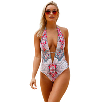 New Sexy Printd Deep V Swimwear Women One Piece Swimsuit Thong Bathing Suit Swim Wear Beach