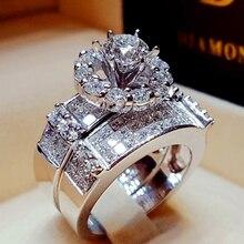 Female Crystal Zircon Wedding Ring Set Fashion White gold Big Stone Finger Ring Promise Bridal Engagement Rings For Women цена