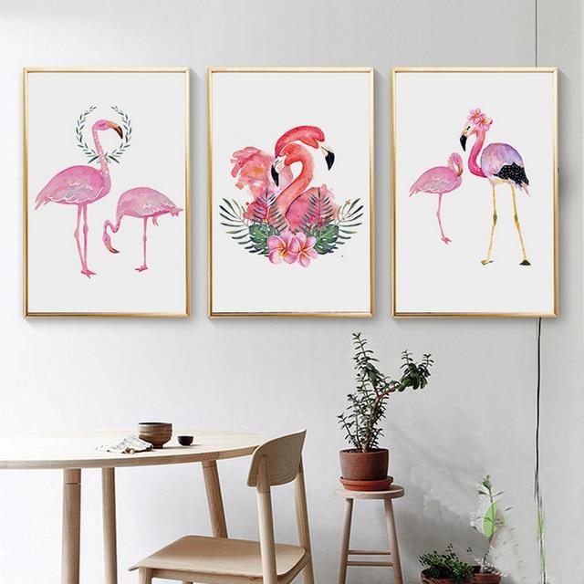 Pink Flamingo lienzo pinturas moda animales carteles y impresiones ...