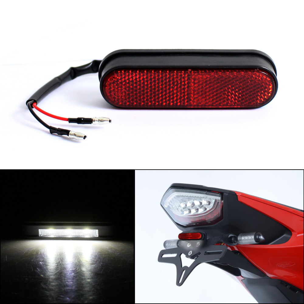 Motorcycle Rear Reflector License Plate Light Streetbike Emark Tail Red Reflector White LED Number Plate Light For Honda Yamaha