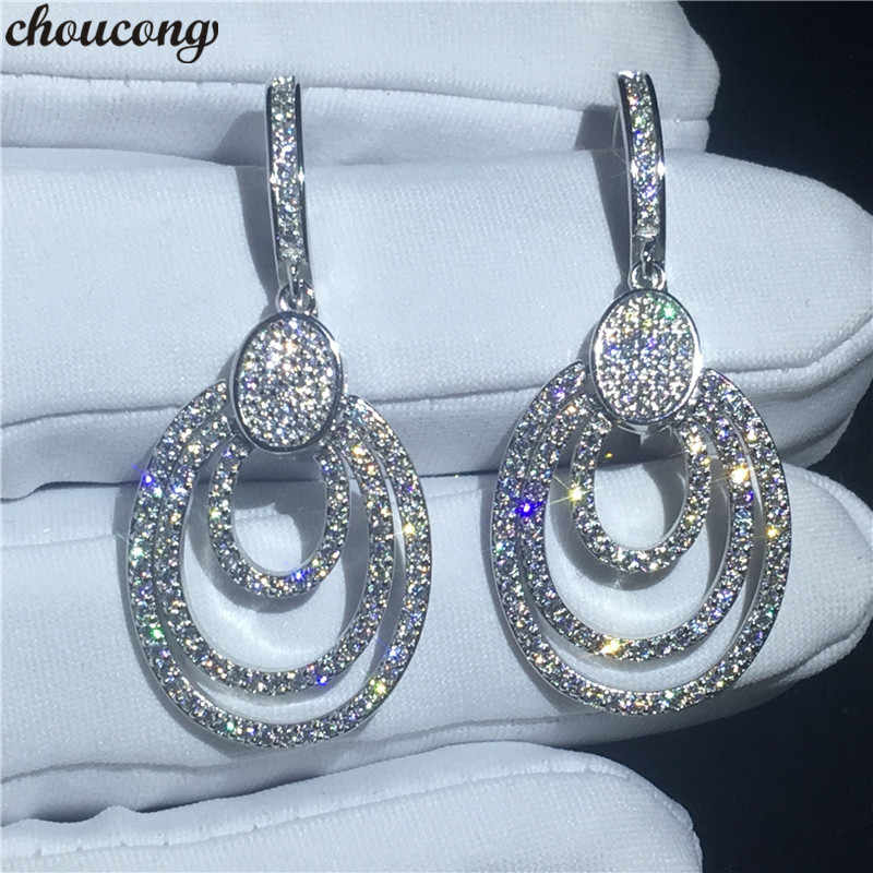 choucong Luxury Drop earring Pave setting AAAAA zircon 925 Sterling silver Engagement Wedding Dangle Earrings for women jewelry