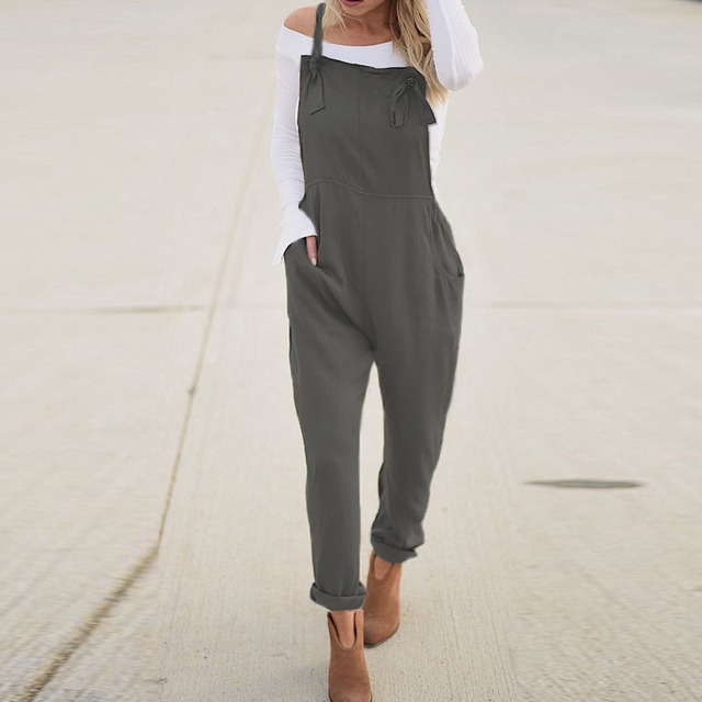 Casual Solid Strappy Sleeveless Long Playsuit 3