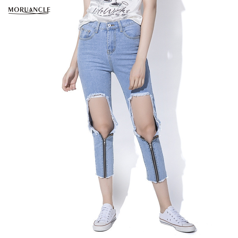 moruancle 2017 new womens ripped wide leg jeans pants distressed flare denim trousers with holes high waist boot cut size s xxl MORUANCLE Fashion Womens Destroyed Jeans Pants Zipper Up Slim Fit Ripped Denim Trousers With Big Holes Distressed Jeans Joggers