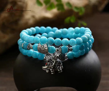 2017 New Chinese Style Design Charm Bracelets Nature Blue Chalcedony Beads with TIbetan silver Elephant Charm fd1022 handmade