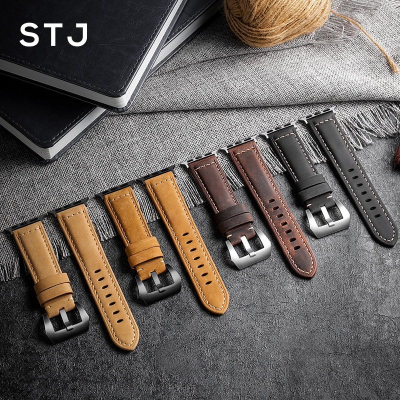 Image 2 - STJ Handmade Cowhide Watchband For Apple Watch Bands 42mm 38mm & Apple Watch Series 4 3 2 1 Strap For iWatch 44mm 40mm Bracelet-in Watchbands from Watches