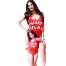 ISLAND VIBES Swimwear Women Sexy Swim suit Letter Print One piece Bathing Suits Bodysuits Low back Beach wear Black Blue Purple