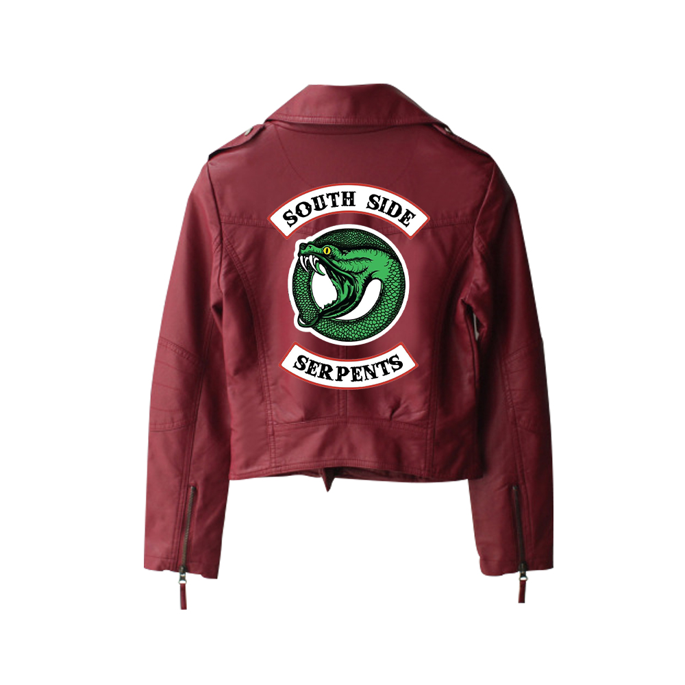 New 2019 Riverdale PU Printed Logo Southside Riverdale Serpents Jackets Women Riverdale Serpents Streetwear Leather Jacket 6
