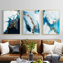 Nordic Abstract blue golden canvas painting color spalsh poster and print unique decor wall art pictures for living room bedroom