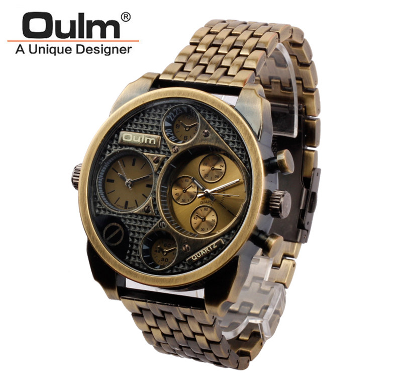 Luxury 9316 Stainless steel Oulm Watch Men Big dial Watch white case Quartz Relojes Sports Fashion Male Military Wristwatch relojes full stainless steel men s sprot watch black and white face vx42 movement