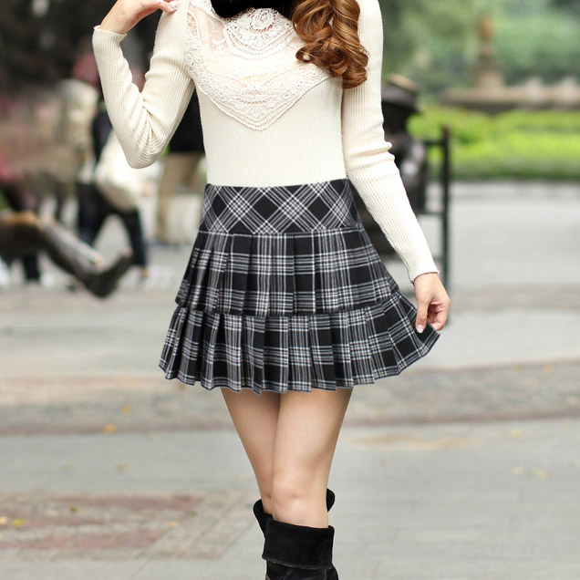 3f505af7d 2015 New Arrival Autumn Spring Female Pleated Skirt Mini Short Skirt  Preppystyle All-Match Plaid Skirts For Women Falda SK070