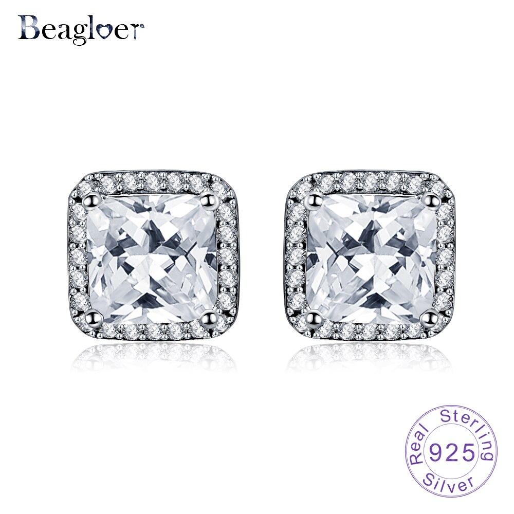 Beagloer 925 Sterling Silver Asscher Cut Cz Zirconia Small Stud Earrings  For Women Wedding Jewelry Gift