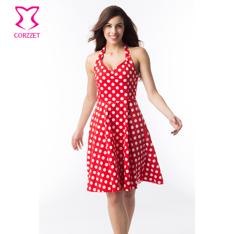 Elegant White Polka Dot Red Halter V Neck Women Dress Plus Size ...