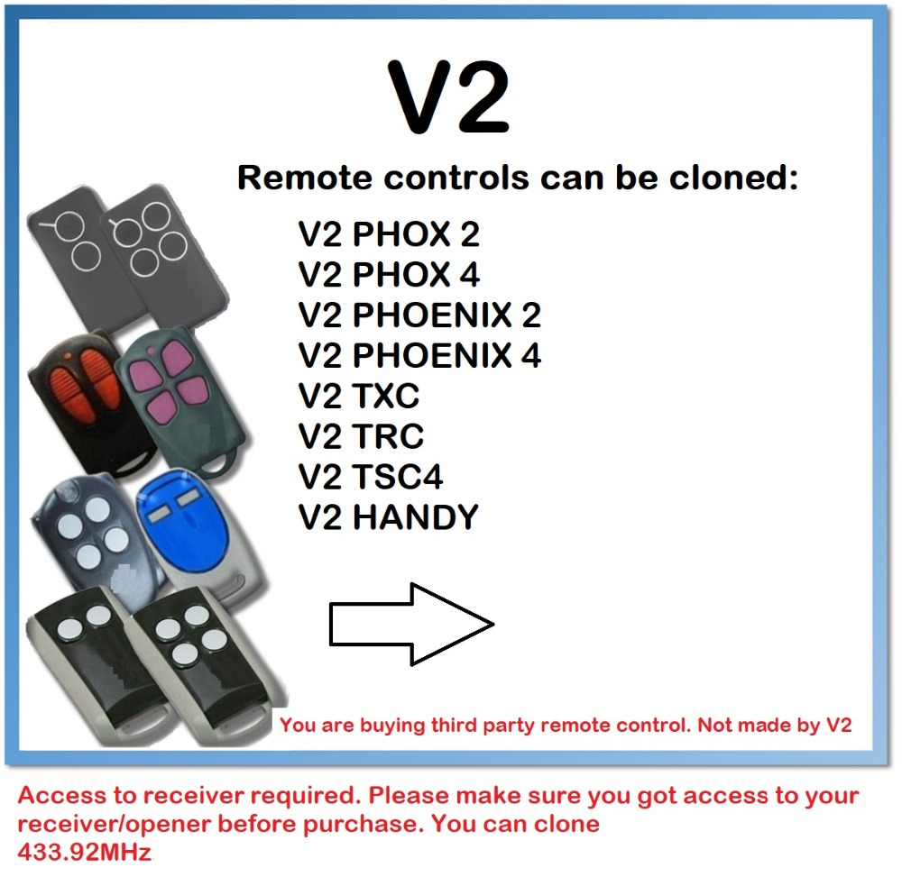 V2 Handy Self Learning Replacement Remote Control Fob 433 92 MHz Rolling Code in Theft Protection from Automobiles Motorcycles
